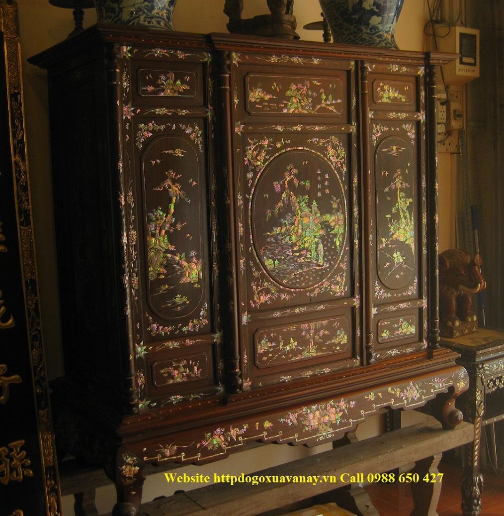 Tủ gỗ trắc : Khảm tích Nhị Thập Tứ Hiếu .