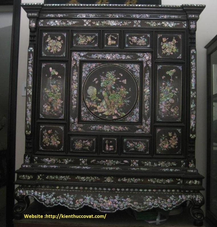 Tủ thờ gỗ gụ cổ -Cẩn tích Hồng Công